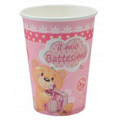 Bicchiere di carta battesimo rosa