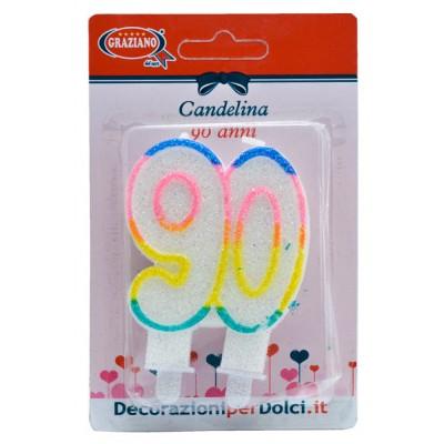 candelina per torta 90 anni