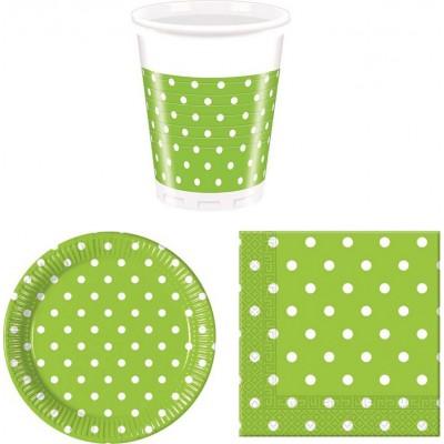 Coordinati tavola verde pois