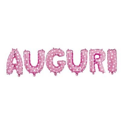 Kit festone con palloncini scritta Auguri rosa