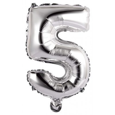 Palloncini mylar argento numero 5 addobbi