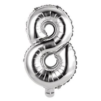 palloncino numerale numero 8 argento
