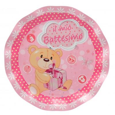 Piatto di carta piccolo battesimo rosa