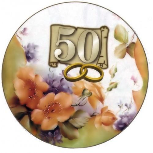 Cialda nozze d 39 oro a soli 4 49 for Decorazioni torte per 60 anni di matrimonio
