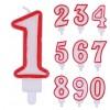 Candelina Numerale Rossa
