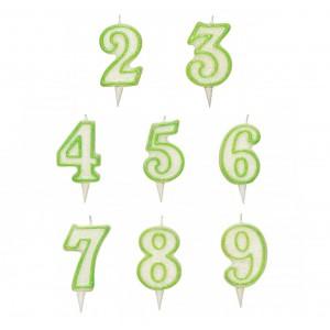 Candelina Numerale Verde Glitterata