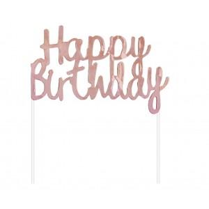 Cake Topper Rosa Gold Happy Birthday
