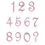 Candelina Numerale Glitter Rosa Gold