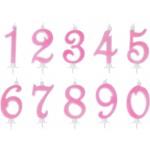 Candelina Numerale Glitter Rosa