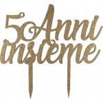 """Cake Topper  """"50 anni insieme"""" legno"""
