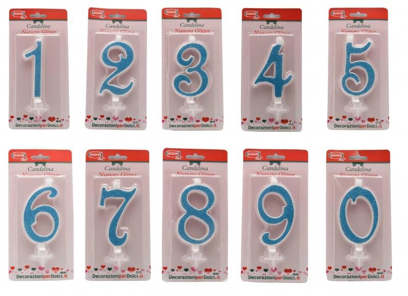 Candelina Numerale Glitter Celeste