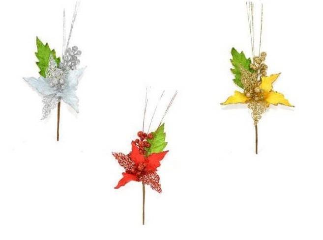 Rametto con fiore a stella glitterato