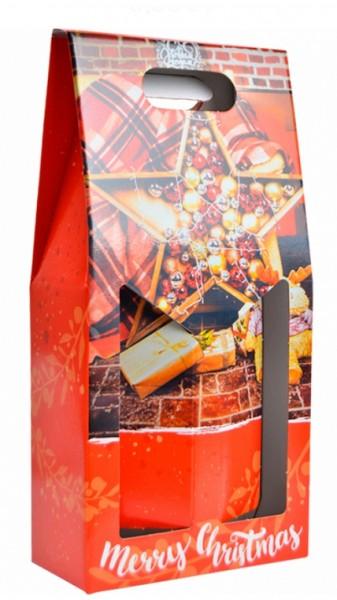 Porta 2 bottiglie natalizio vari disegni
