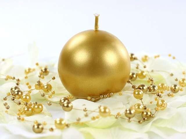 Candela a sfera Oro 6 cm