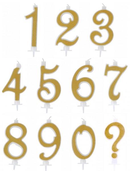 Candelina Numerale Glitter Oro