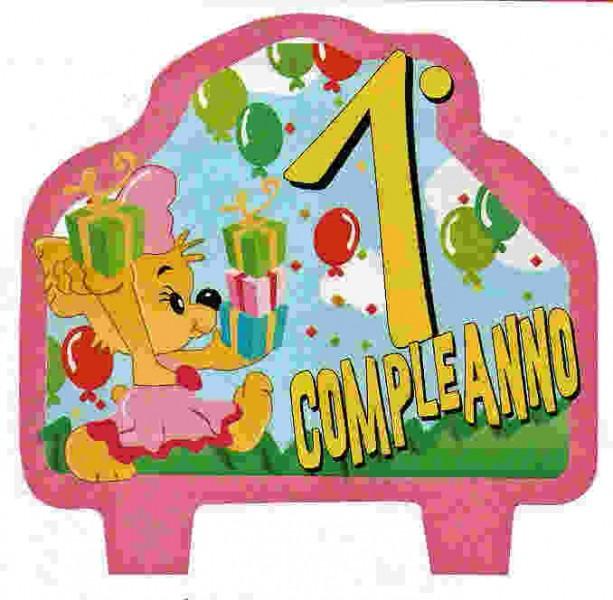 Candelina 1 Compleanno Orsetto Rosa