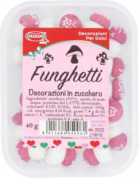 Decorazioni in zucchero Funghetti 40g