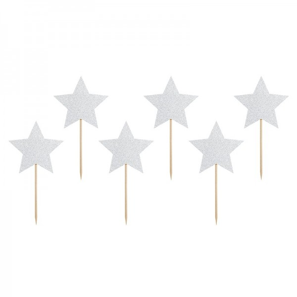 Cupcake Toppers Stelle Argento 6 Pz