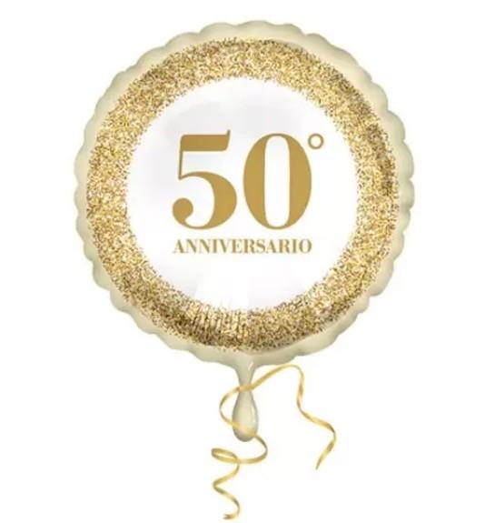 Mylar 18'' 50 Anniversario Glitter