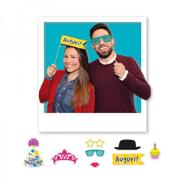 Photo Booth Buon Compleanno 8 Pz.
