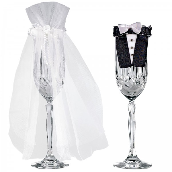 Vestito sposi per bicchiere